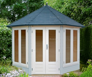 Double Door 28mm Octagonal Log Cabin 201 - Large Panes