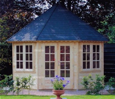 Double Door 45mm Octagonal Log Cabin 372