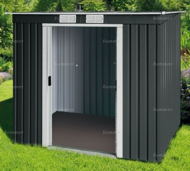 Metal Shed 360 - Pent Roof, Double Door, Galvanized Steel