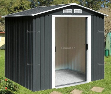 Metal Shed 370 - Apex Roof, Double Door, Galvanized Steel
