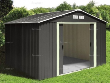 Metal Shed 374 - Apex Roof, Double Door, Galvanized Steel