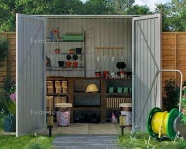 Metal Shed 389 - Pent Roof, Hinged Doors, Galvanized Steel
