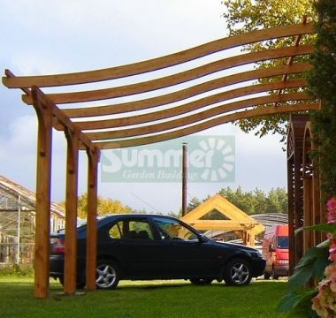 Wooden Gazebo 455 - Lean To Pergola, Pressure Treated
