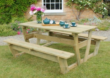 Pressure Treated 6 Seater Picnic Table 852
