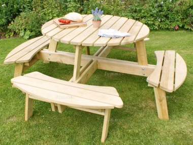 8 Seater Round Picnic Table 842 - 3ft 10in Table, Pressure Treated