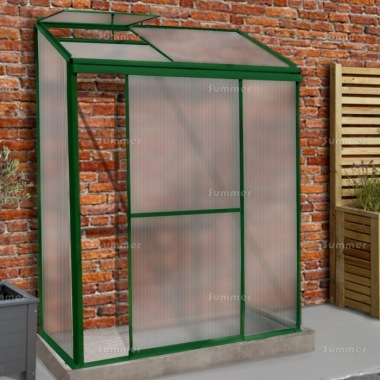 Aluminium Lean To Greenhouse 311 - Polycarbonate, Green Finish