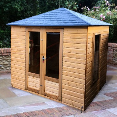 Hipped Summerhouse 195 - Slate Effect Roof, Low Level Glazing