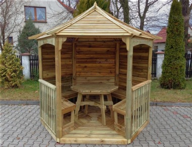 Gazebo 230 - Hexagonal, Pressure Treated, Slatted Roof