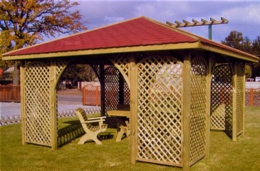 Gazebo 426 - Hipped, Pressure Treated, Trellis