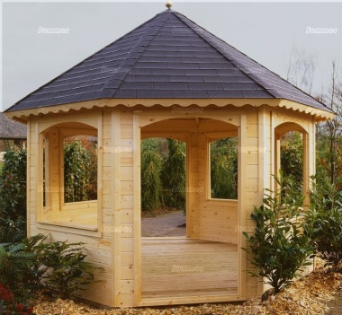Wooden Gazebo 242 - Octagonal, 45mm Logs, Felt Tiles