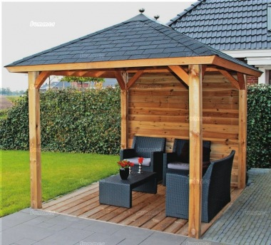 Wooden Gazebo 323 - Hipped Roof, Felt Tiles