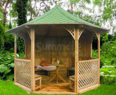Wooden Gazebo 31 - Octagonal, Pressure Treated, Felt Tiles