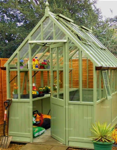 Painted Cedar Victorian Greenhouse 631 - Part Boarded