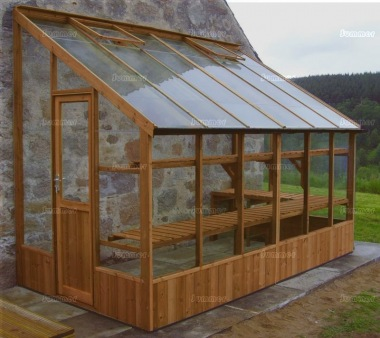 Thermowood Lean To Greenhouse 203 - Toughened Glass