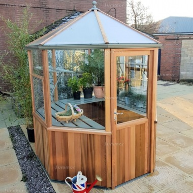 Cedar Octagonal Greenhouse 85 - Toughened Glass