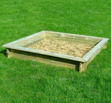 Wooden Sandpit 552 - With Interlocking Logs and Boarded Lid