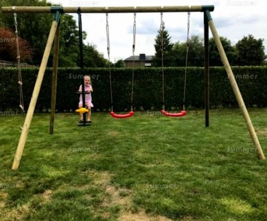 Wooden Swing Set 778 - 2 Swings, Duo Seat, Rope Ladder