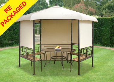 Repackaged Metal Gazebo 113 - Hexagonal, Blinds, Seats and Table