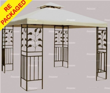 Repackaged Metal Gazebo 140 - Hipped Roof, Flower Pot Motif