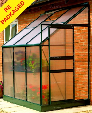 Repackaged Aluminium Lean To Greenhouse 04 - Green
