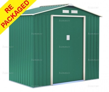 Repackaged Metal Shed 371 - Apex Roof, Double Door, Galvanized Steel