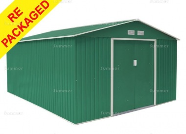 Repackaged Metal Shed 379 - Apex Roof, Double Door, Galvanized Steel