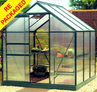 Repackaged Aluminium Greenhouse 102 - Green with Polycarbonate